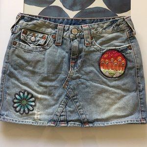 TRUE RELIGION Rare Hippie Mini Patch Jean Skirt 27